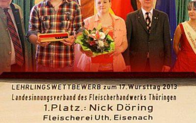 1. Platz Lehrlingswettbewerb 2013