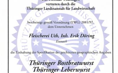 Zertifikat für geographische geschützte Angaben